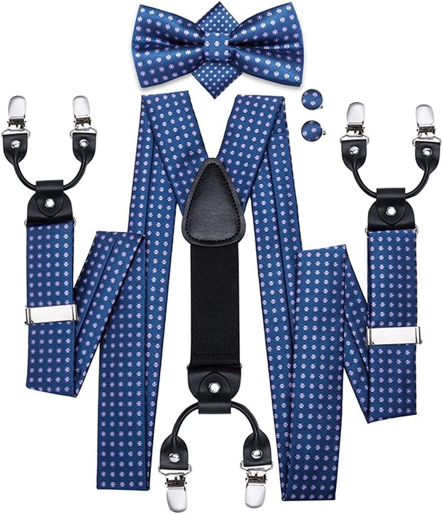 YFQHDD Men's Suspender and Bow Tie Set 6 Clips Braces Vintage Fashion Blue Dots Wedding Suspenders Men (Color : A, Size : Adjustable)