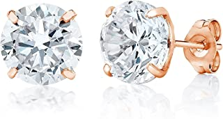 14K Gold 3MM-8MM Round Basket Setting CZ Stud Earrings - Available in White, Yellow, or Rose