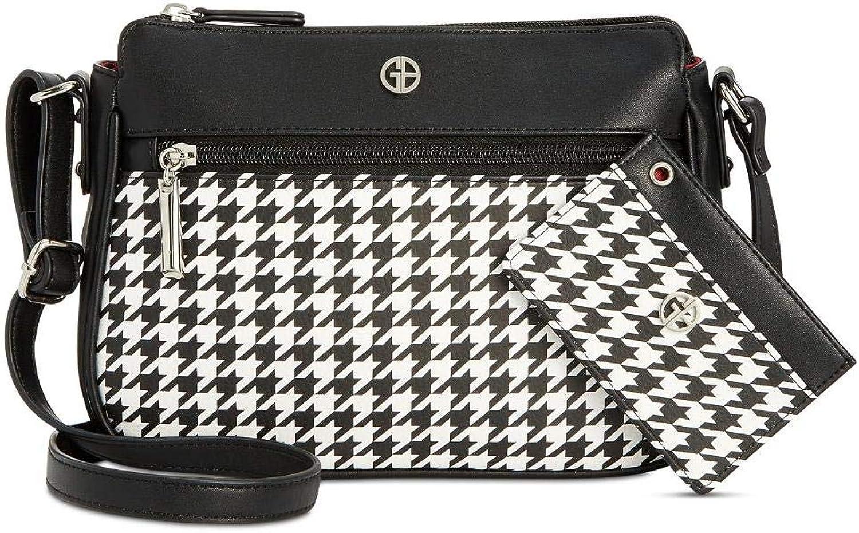 Giani Bernini Womens Houndstooth Adjustable Crossbody Handbag B W Small