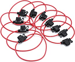 CAMWAY 10PCS Fuse Holder Blade Mini ATM/ATC Waterproof Automotive Wire Fuse Holder 14 AWG for Car Boat RV 12V 20A Fuses