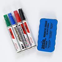 ANSIO Dry Wipe Whiteboard Marker Pen Set with Magnetic Eraser