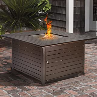 Barton Outdoor Firepit Square Fire Table Fire Pit Propane Patio Gas Heater Flame Adjustable with Lid and Cover 42,000 BTU