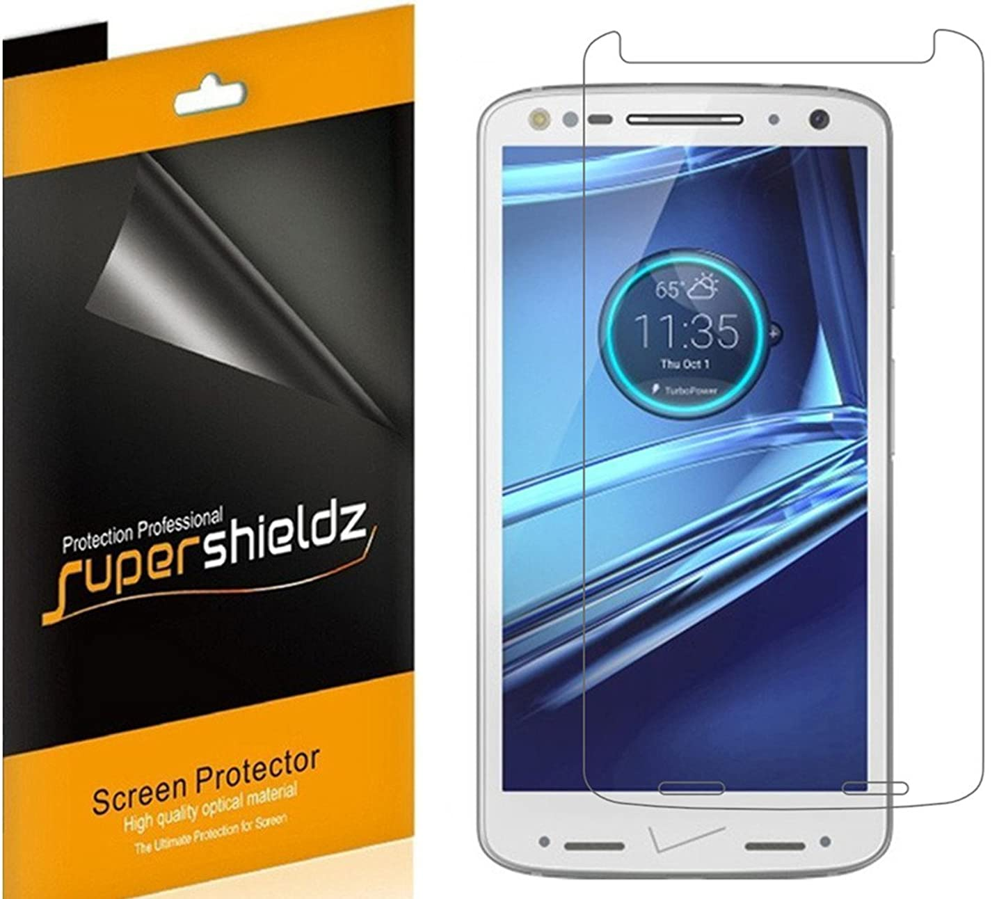 [6-Pack] Supershieldz for Motorola (Droid Turbo 2) Screen Protector, High Definition Clear Shield + Lifetime Replacement wabnhjupyai770