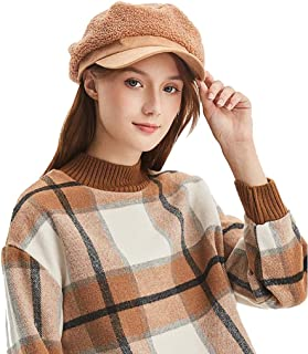 New Women's Ladies Beret Visor ski caps Ear Warm Cotton Close-Fitting Spring and Autumn Winter Outdoor Small Fresh Temperament Youth Travel hat Female (Color : Brown)