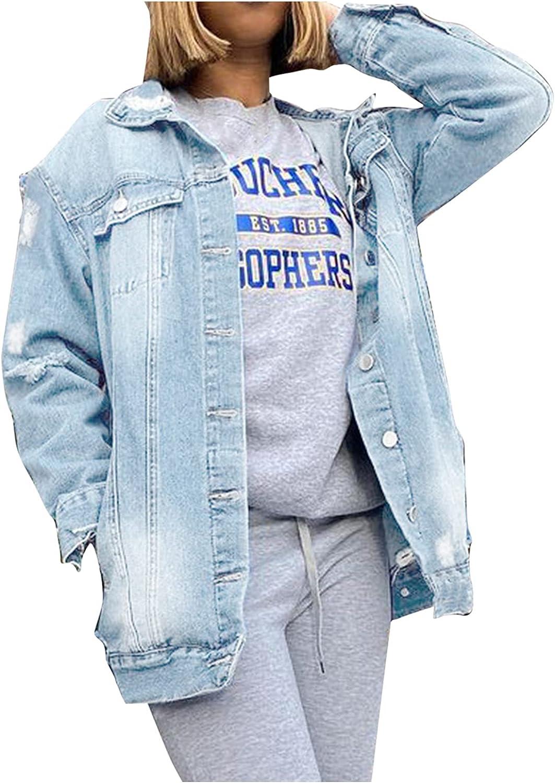 Women Denim Coats Long Jeans Denim Jacket Ripped Holes Jean Jackets Button Down Cardigan Tops Plus Size Jacket Hemlock
