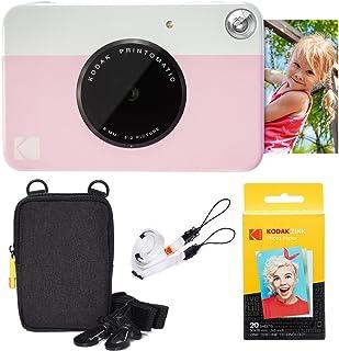 KODAK: Paquete básico de cámara instantánea Printomatic (Rosado) + Papel Zink (20 Hojas) + Funda cómoda Correa para el Cuello.