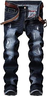 Mens Classic Straight Leg Regular Fit Stylish Jeans Cargo Combat Blue Coated