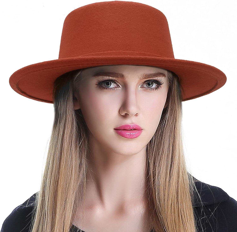 EOZY Women's Classic Fedora Hat Flat Top Boater Hat Wide Brim Church Derby Hat