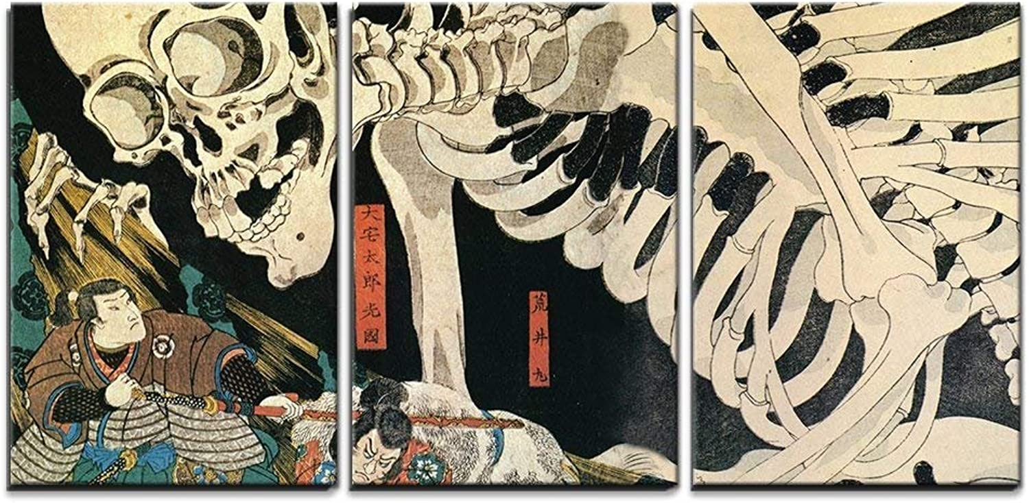 Wall26 - 3 Piece Canvas Wall Art - Utagawa Kuniyoshi - Takiyasha The Witch and The Skeleton Spectre - Ukiyo-E - Modern Home Decor Stretched and Framed Ready to Hang - 16 x24 x3 Panels