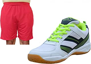 FOOTFIX Spectrum White (Non Marking) PU Badminton Shoe White with Red Short for Men Footwear Combo