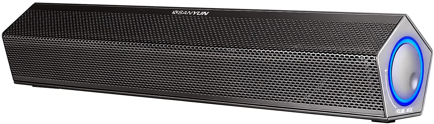 Sanyun SW010 Computer Speakers, Bluetooth 5.0, USB Connection for Power and Audio Mini Sound Bar, Built-in 16-bit DAC for PC/Laptop/Tablet/Desktop/Smartphone, Black