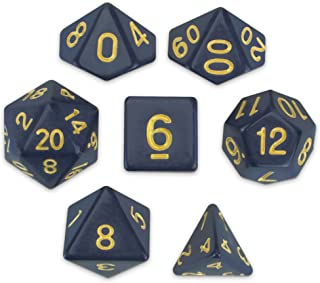 Wiz Dice Dreamless Night Set of 7 Polyhedral Dice, Solid Dark Navy Blue Tabletop RPG Dice with Clear Display Box