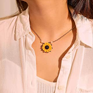 Edary Lovely Flower Pendant Necklace With Pearl Jewelry Sunflower Necklace for Women and Girls (Rose Gold)