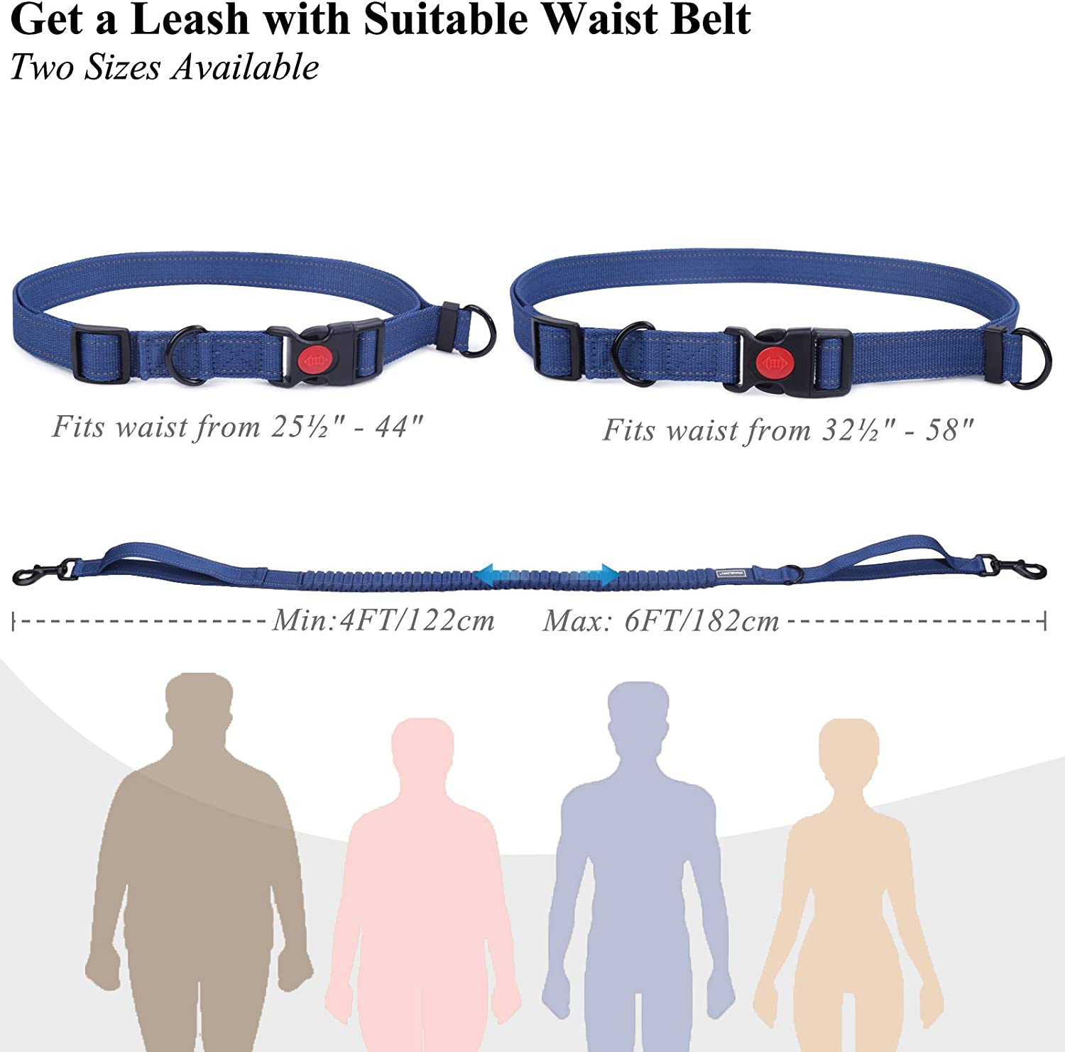 Dual Handles Reflective Waist Leash for Training Running Walking Fits waist from 25/½ to 44 inch Grey VIVAGLORY Hands Free Dog Leash with Retractable Wavelength Bungee for Small Medium and Large Dogs