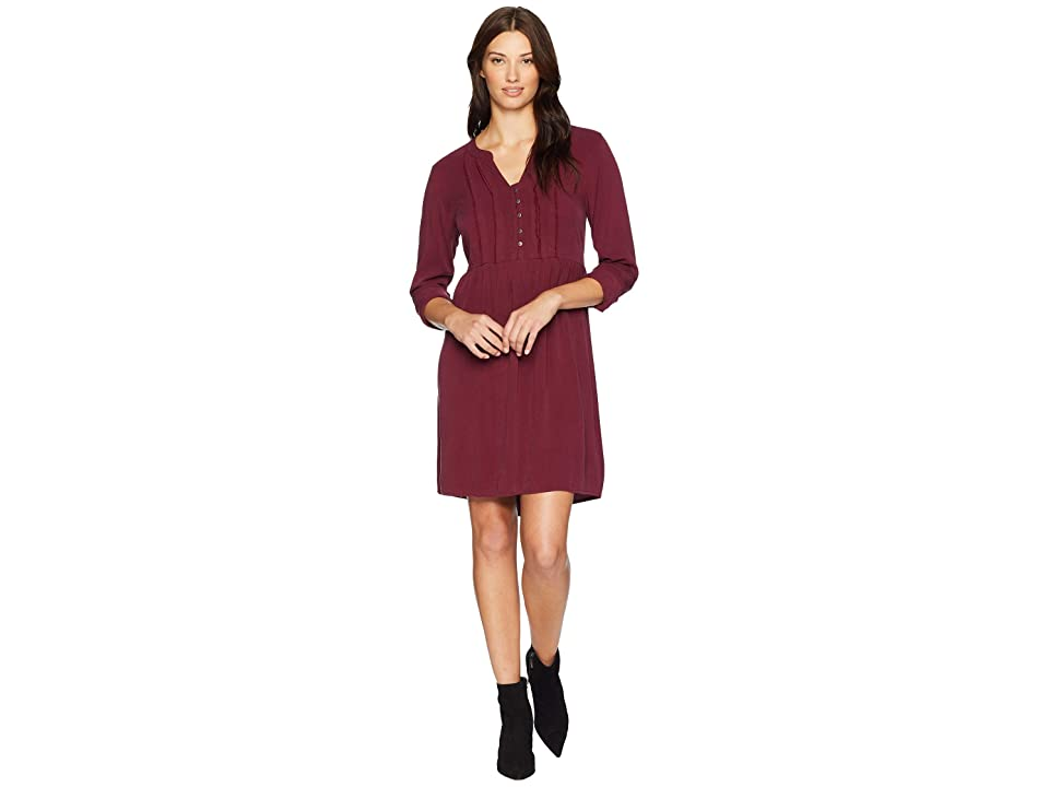 Mod-o-doc Sandwashed Twill Mandarin Collar Tuxedo Pleat Dress (Cranberry) Women