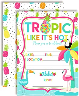 Tropic Like It's Hot Tropical Summer Birthday Party Invitations, 20 5