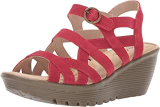 Women's Parallel-Three Strap Buckle Slingback Wedge Sandal