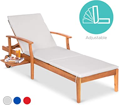 Best Choice Products 79x30-inch Acacia Wood Chaise Lounge Chair Recliner, Outdoor Furniture for Patio, Poolside w/Slide-Out S
