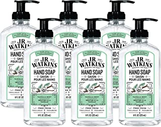 JR Watkins Gel Hand Soap, Vanilla Mint, 6 Pack, Scented Liquid Hand Wash for Bathroom or Kitchen, USA Made and Cruelty Free, 11 fl oz