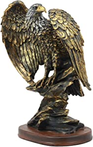 "Ebros 10.25"" Tall Patriotic Bald Eagle On Rocks Statue Wild Bird Eagle Decorative Bronze Patina Resin Figurine"