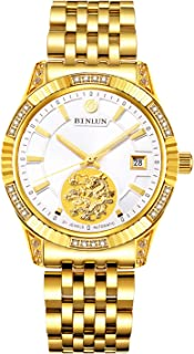 Men's 18K Gold-Plated Automatic Watches Luminous Waterproof Date Watches for Men Diamonds
