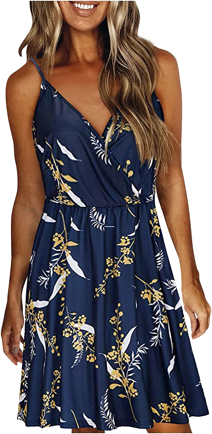 Fankle Women's V Neck Floral Printed Mini Dress, Summer Spaghetti Strap Ruched Dress Casual Mini Swing Flowy Sundress