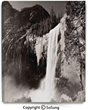 Canvas Prints Modern Art Framed Mural Waterfalls in Yosemite National Park in California Monochromic Old Picture Print Wall Decorations for Living Room Bedroom Dining Room Bathroom 30x48inch Black Wh