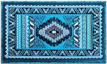 Masada Rugs, Southwest Native American Decor, Area Rug Turquoise (24 Inch X 40 Inch Mat)