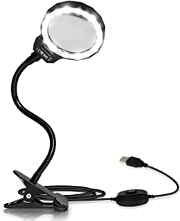 Allnice Magnifying Glass, 3X LED Lighted Magnifying Lamp USB Powered Clip On Optical Glass Magnifier Lens with 2 Light Settings & Metal Clamp for Reading, Hobby, Soldering, Crafts