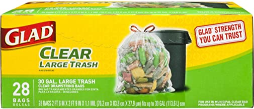 Glad Large Drawstring Recycling Bags - 30 Gallon Clear Trash Bag - 28 Count