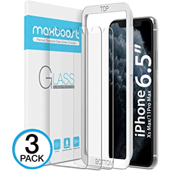 "Maxboost Screen Protector for Apple iPhone 11 Pro Max and iPhone XS Max (6.5"") (3 Pack, Clear) 0.25mm Tempered Glass Screen Protector w/ Advanced HD Clarity / Case Friendly 99% Touch Accurate"