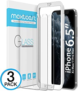 """Maxboost Screen Protector for Apple iPhone 11 Pro Max and iPhone XS Max (6.5"""") (3 Pack, Clear) 0.25mm Tempered Glass Screen Protector w/ Advanced HD Clarity / Case Friendly 99% Touch Accurate"""