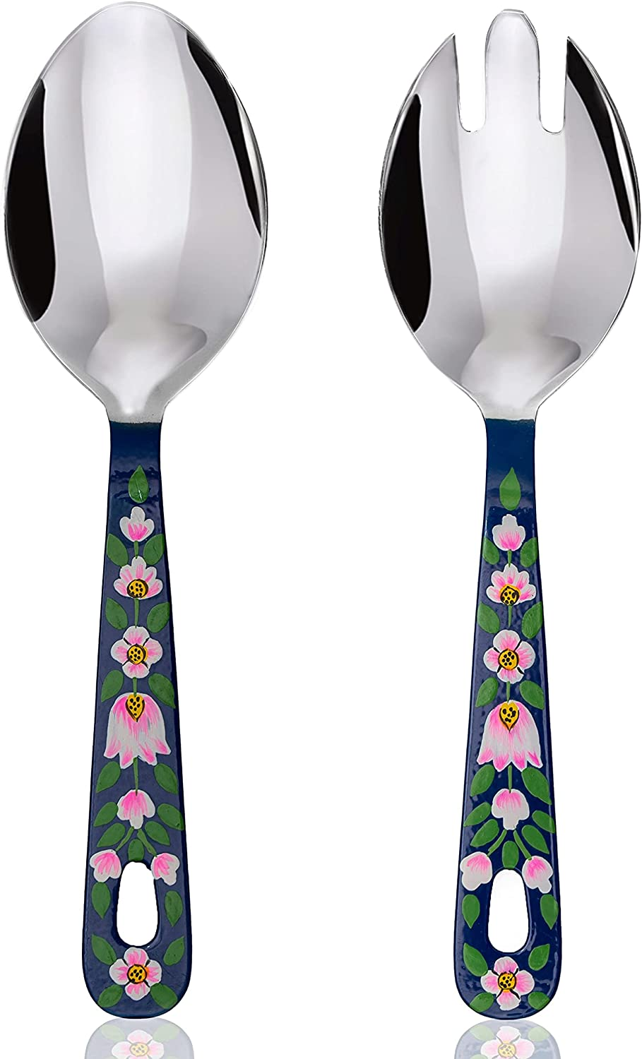Hand Painted Serving Spoon and Fork – Large Stainless Steel