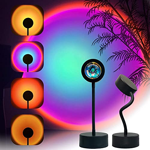 Sunset Projection Lamp LED Night Light, 360 Degree Rotation Sunset Projector Light Floor Lamp, USB Romantic Visual Mo...