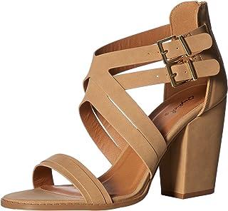 Qupid Women's Chunky Heeled Sandal, tan nubuck polyurethane, 6 M US