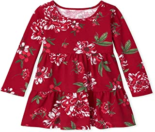 The Children's Place Baby Toddler Girl Long Sleeve Floral Print Knit Tiered Dress