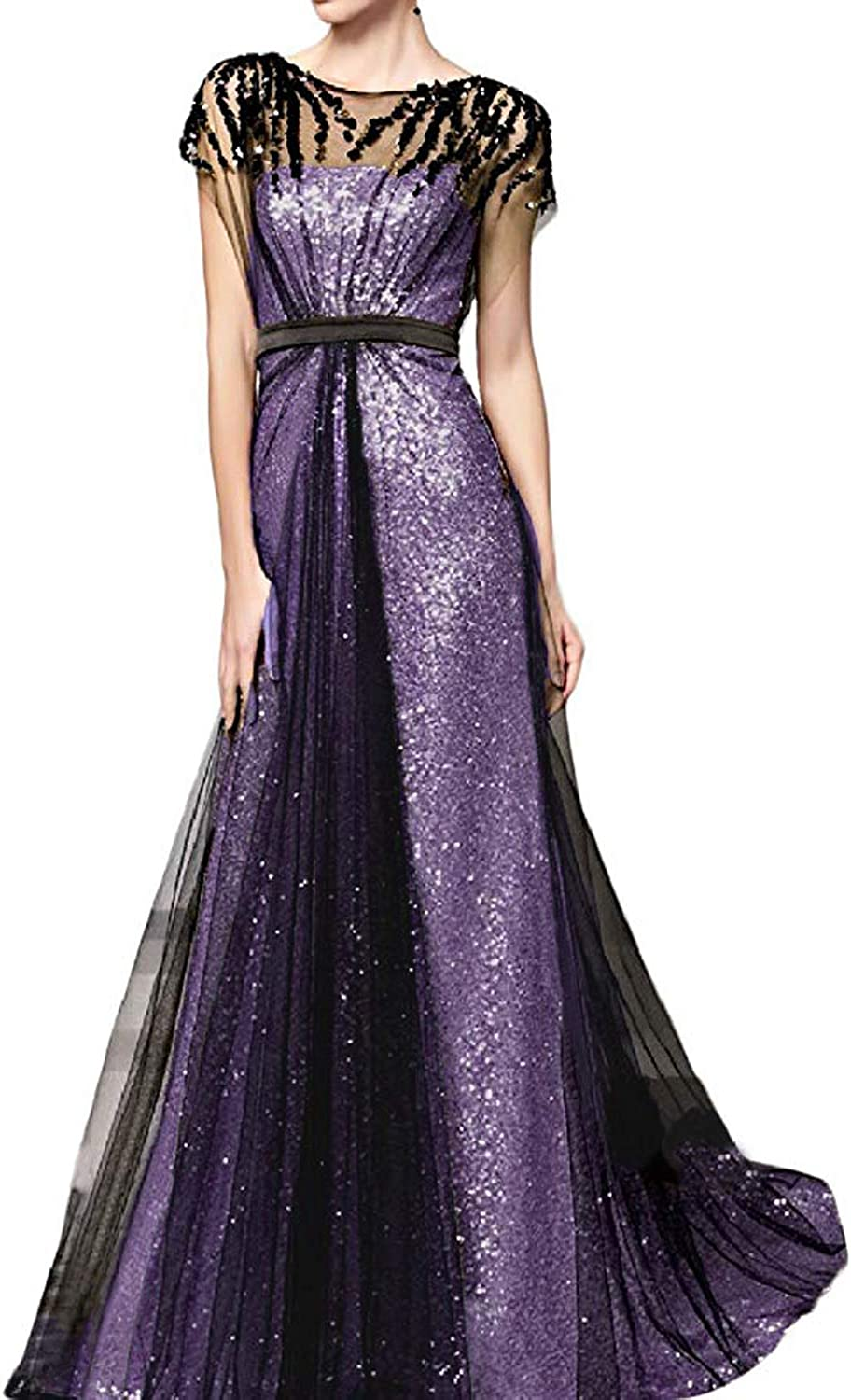CIRCLEWLD Aline Sequined Evening Gown with Black Tulle Cover Women's Formal Dresses E212