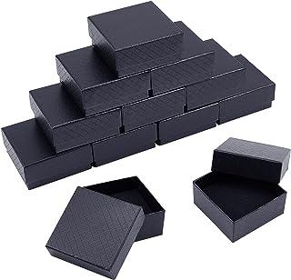 nbeads 12個セット 7.5x7.5x3.5cm ギフトボックス アクセサリー紙箱 アクセサリーケース 長方形 指輪 ピアス リング ジュエリー収納ボックス プレゼント 包装 贈り物 ブラック