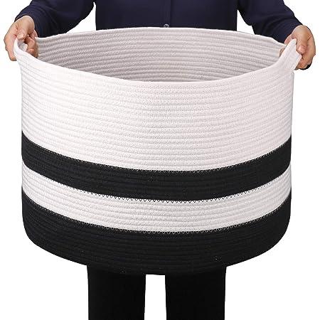 GOCAN Extra Large Couverture Panier Coton Corde Panier D55 X H35cm Paniers À Linge Tissés pour Couvertures Panier De Rangement avec Poignées pour Jouets Oreillers Salon XXXL (Noir)