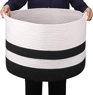 GOCAN Extra Large Couverture Panier Coton Corde Panier D55 X H35cm Paniers À Linge Tissés Pour Couvertures Panier De Range...