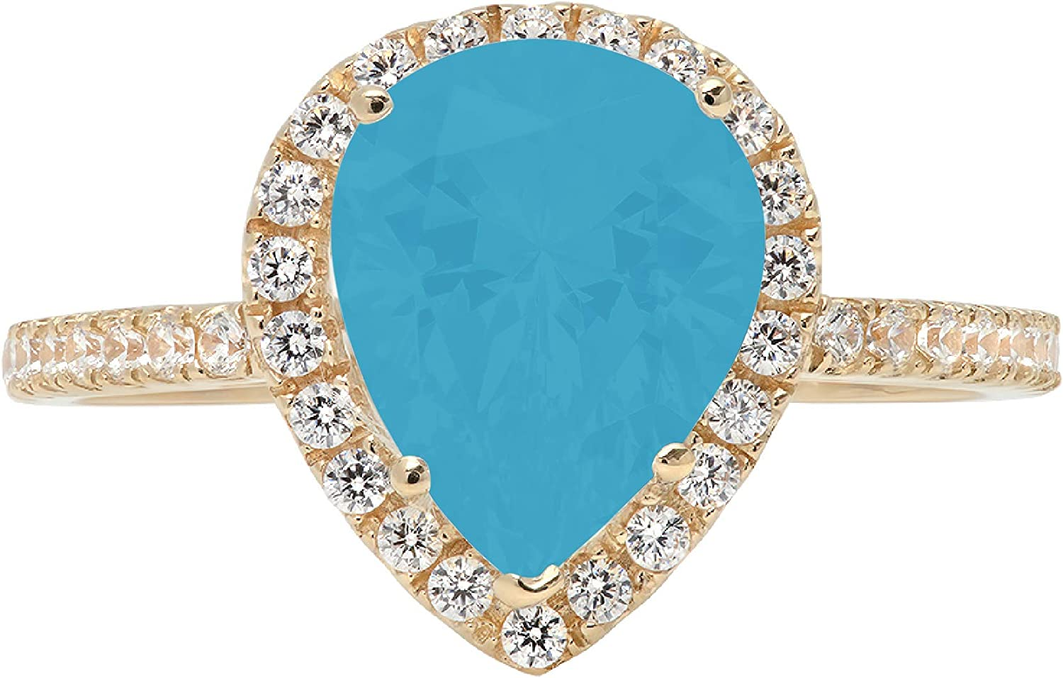 2.39ct Brilliant Pear Cut Solitaire with Accent Halo Flawless Ideal VVS1 Simulated Blue Turquoise CZ Engagement Promise Statement Anniversary Bridal Wedding Designer Ring 14k Yellow Gold