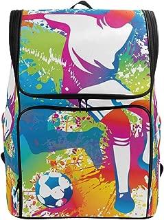 Backpack Shoulder Colorful Doodle Sport Football Soccer Player Travel School Bag Daypack Rucksack