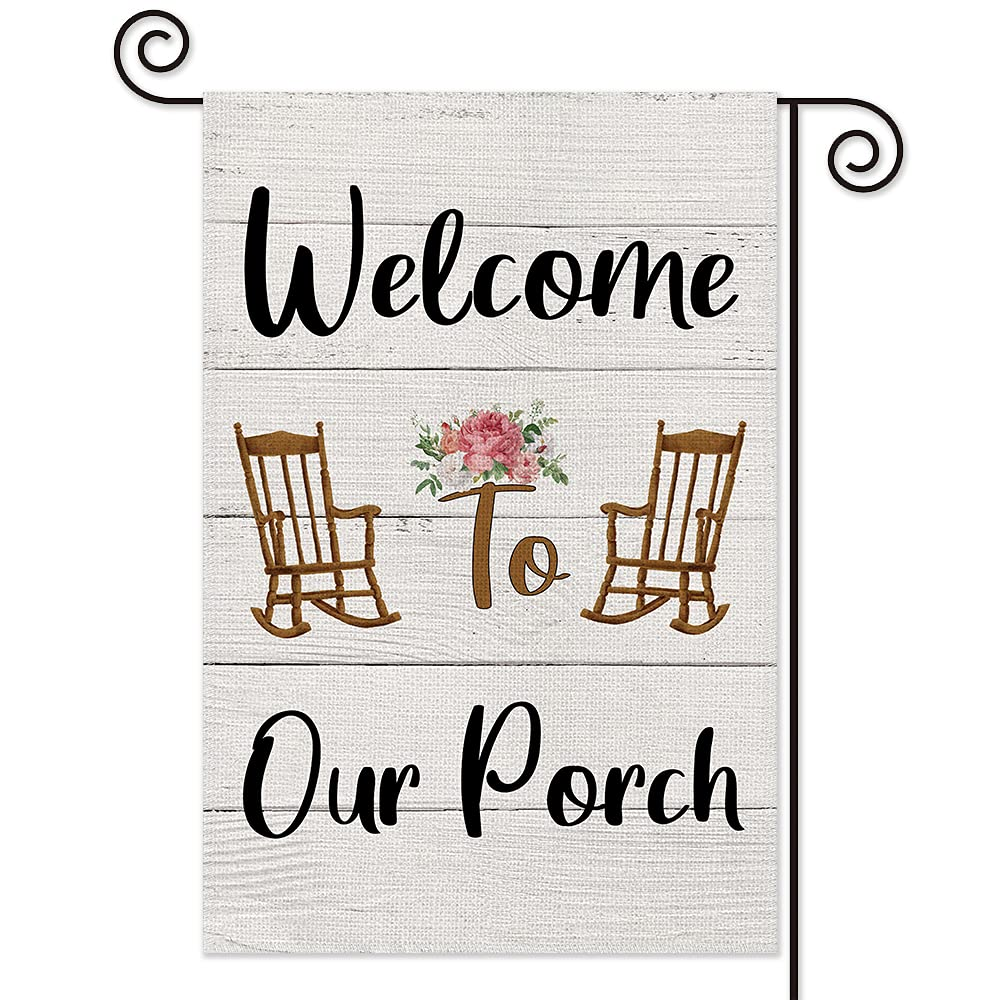 AGMdesign Welcome to Our Home Garden Flag, Double Sided Waterproof Burlap Yard Flag Seasonal Summer Outdoor Decoration 12.5 x 18 Inch