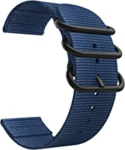 Emibele 22mm Universal Watch Band, Fine Woven Nylon with Stainless Steel Buckle Adjustable Replacement Band for 22mm Sport Strap, Royal Blue