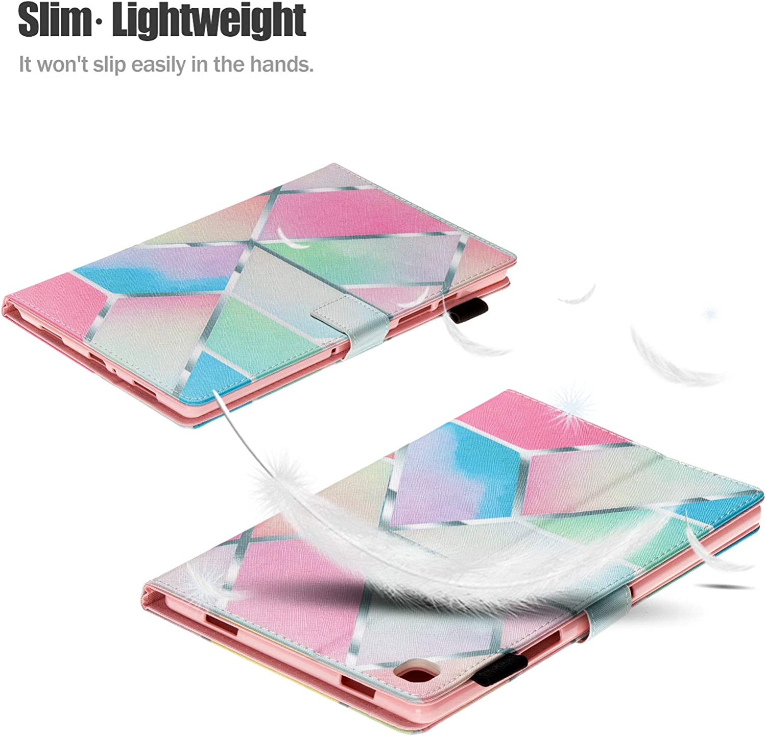 Uliking Case Compatible with Samsung Galaxy Tab A7 10.4 2020 SM-T500//507//T505 Rainbow PU Leather Shell Anti-slip Stand Folio Protective Cover with Auto Wake//Sleep Fit Galaxy Tab A7 2020