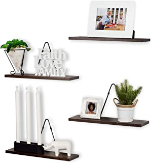 Rustic State Moma Farmhouse Decor   Wall Mount Floating Shelves Wood with Triangle Bracket Set of 4 (Walnut)