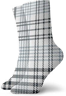 Osmykqe, Calcetines tobilleros atléticos de compresión a media pierna oscura sin costuras con patrón de cuadros escoceses niño niña
