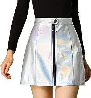 Allegra K Women's Metallic Skirts A-Line Zipper High Waist Short Mini Party Skirt