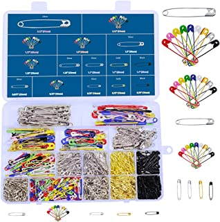 620 Pieces 7 Sizes Safety Pins Assorted Durable, Large Safety Pins Small 19mm - 54mm Strong Heavy Duty Colored Safety Pins for Home Office Use Art Craft Sewing Jewelry Making