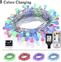 Fiee 8 Colors Change Globe Ball String Lights with Remote Control,33ft 96LED RGB Fairy Decoration Christmas Lights-with 52Modes and 6V Safe Voltage Plug in for Indoor Party Wedding Bedroom Garden